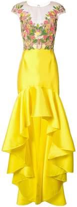 Marchesa Mikado embroidered dress