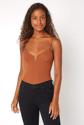 Wild Honey Tan Ribbed Bustier Bodysuit