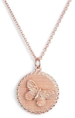 Olivia Burton Crystal Butterfly Disc Pendant Necklace