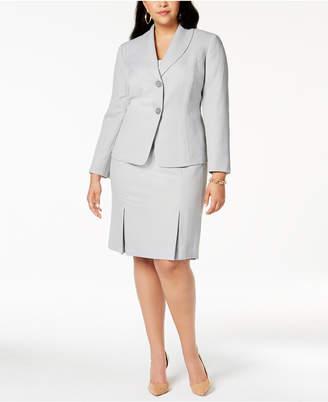 Le Suit Plus Size Herringbone-Print Skirt Suit