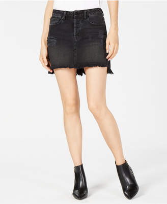 KENDALL + KYLIE Ripped Ruffled-Back Denim Skirt