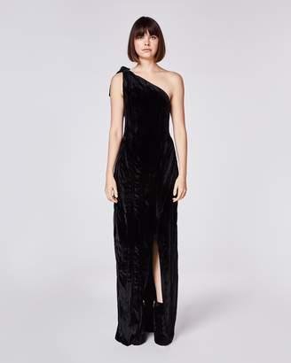 Nicole Miller Crinkled Velvet Dress W/ Slit