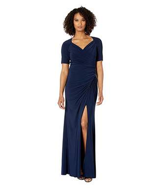 Adrianna Papell Draped Matte Jersey Evening Gown