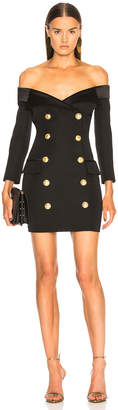 Balmain Double Breasted Off Shoulder Blazer Dress