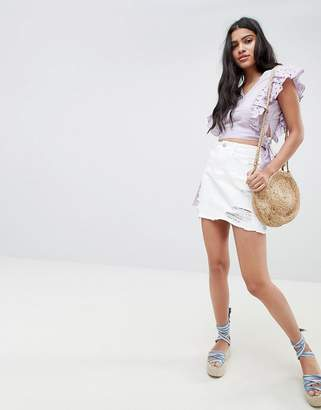 Glamorous Mini Skirt With Raw Hem And Distressing In Denim