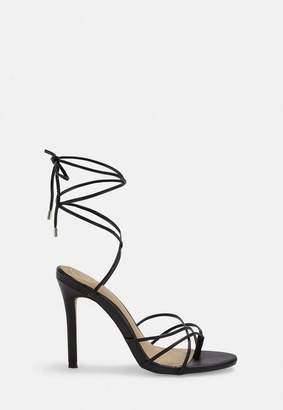 Missguided Black Strappy Toe Post Heeled Sandals