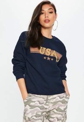 Missguided Navy USA Graphic Sweatshirt