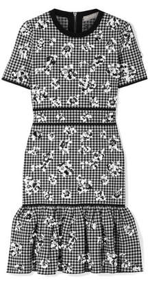 Michael Kors Embellished Ruffled Checked Stretch-knit Mini Dress