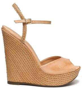 Schutz Leather Espadrille Wedge Sandals