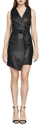 BCBGMAXAZRIA Layla Asymmetrical Pleather Sheath Dress