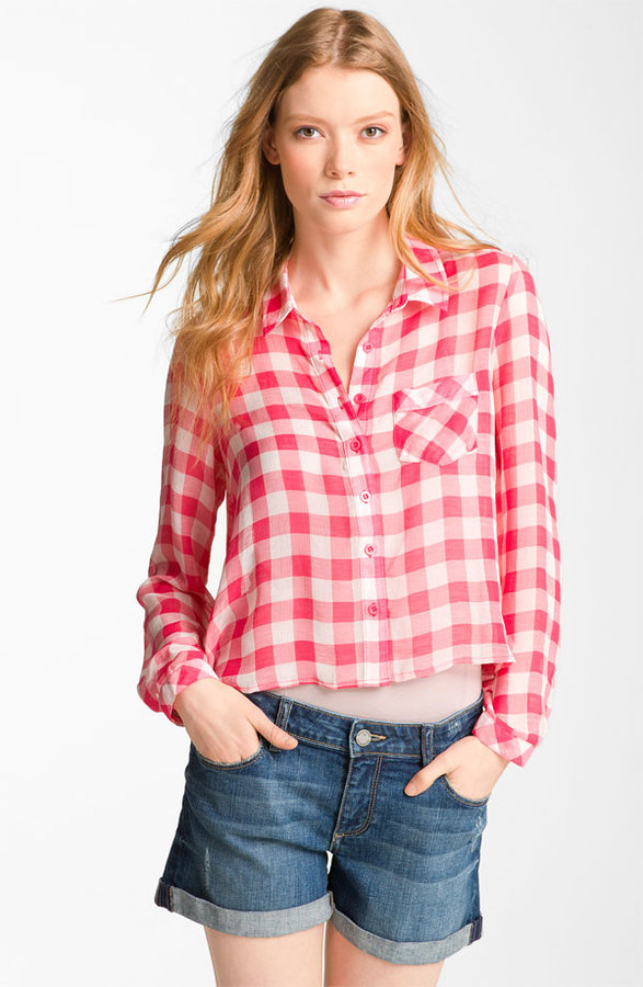 Free People Sheer Boxy Gingham Check Shirt