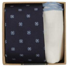 The Tie Bar Floral Silk Tie and Pocket Square Set
