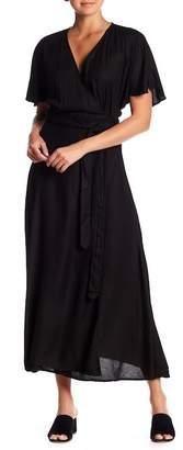 Elan International Solid Short Sleeve Midi Dress