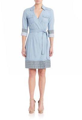 Diane von Furstenberg Savion Chambray Wrap Dress $378 thestylecure.com