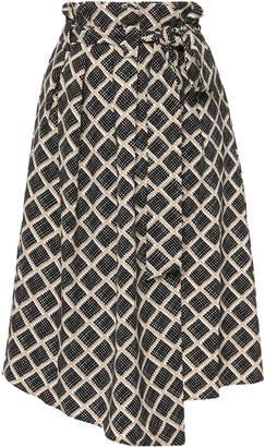HOFMANN COPENHAGEN Roxy Printed Wrap Midi Skirt Size: 34