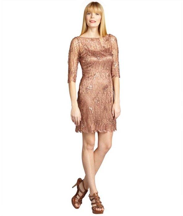 Kay Unger copper webbed lace sequin embellished dress