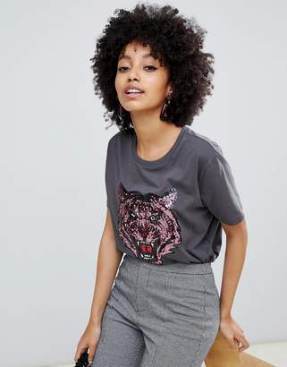 Asos DESIGN t-shirt with sequin tiger print in washed black