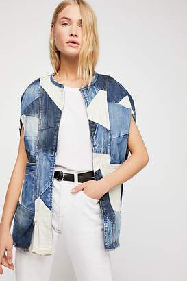 Binetti Love Piece Of Me Patchwork Denim Poncho