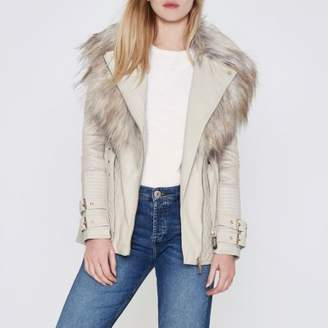 River Island Cream belted faux fur collar biker jacket