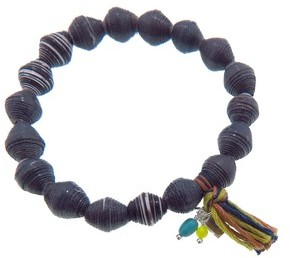 Chan Luu Mixed Paper Bead Stretch Bracelet - Black