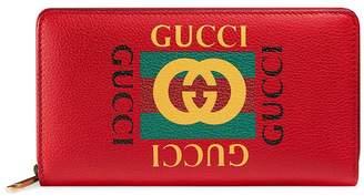 Gucci Logo Print Leather Wallet