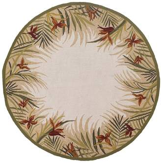 Couristan Rugs Covington Tropic Gardens Indoor/Outdoor Hand-Hooked Round Rug