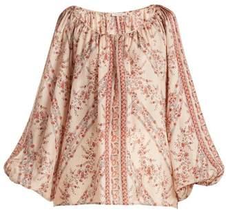Mes Demoiselles Borat Floral Print Silk Blouse - Womens - Pink Multi