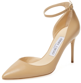 Jimmy Choo Lucy 85mm Leather Ankle-Wrap D'Orsay Pump