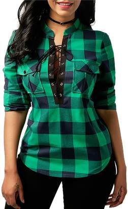SG Women Causal Loose Long Sleeve Plaid Lace Up Shirt Tuic Tops