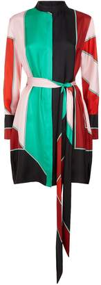 Diane von Furstenberg Colour-Block Silk Shirt Dress