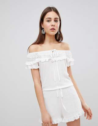 Brave Soul Candy Romper with Frill Off Shoulder