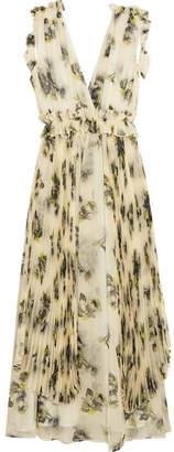 MSGM Floral-print Silk-chiffon Midi Dress - Off-white