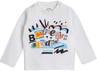Burberry Long-sleeve Logo Print Cotton T-shirt