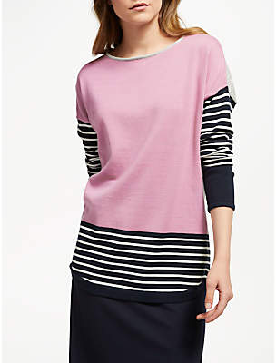 Gerry Weber Colour Block Stripe Jersey Top, Grey/Lilac/Blue