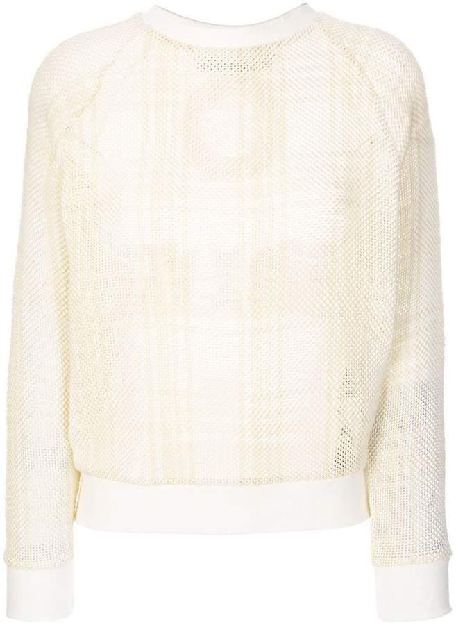 embroidered tartan mesh sweatshirt