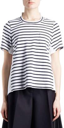 Sacai Crewneck Short-Sleeve Striped Cotton Top
