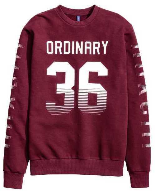 H&M - Sweatshirt with Printed Design - Burgundy - Men