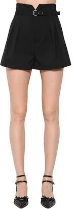 RED Valentino High Waist Belted Viscose Cady Shorts