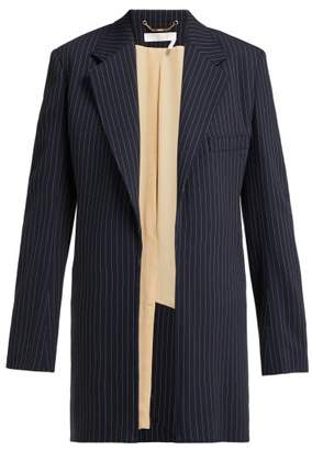 Chloé Tennis Single Breasted Pinstriped Crepe Jacket - Womens - Navy Stripe