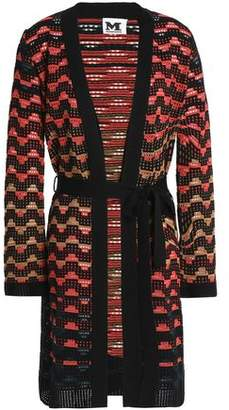 M Missoni Belted Open-Knit Wool-Blend Cardigan