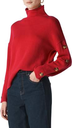 Whistles Button Sleeve Funnel Neck Sweater