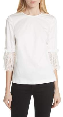 Ted Baker Broderie Lace Bow Sleeve Top