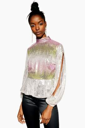 Topshop Ombre Sequin Split Sleeve Top
