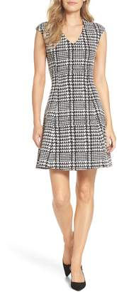 FOREST LILY Houndstooth Jacquard Fit & Flare Dress