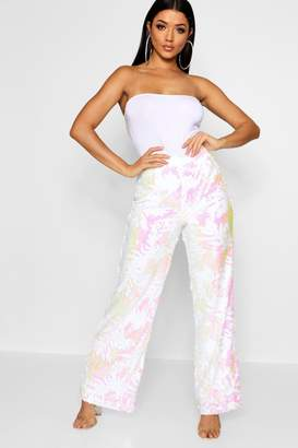boohoo Palm All Over Sequin Wide Leg Trouser