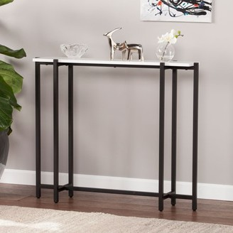 Southern Enterprises Harloff Contemporary Narrow Console Table, Black w/ White