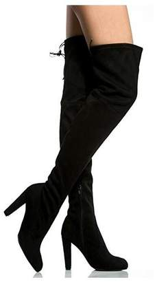 2f27fd74dbbf MIUINCY Black Brown Over The Knee Boots for Women High Stretchy Faux Suede  Drawstring Block Thigh
