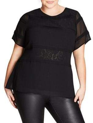 City Chic Plus Lace Pintuck Short-Sleeve Top