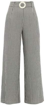 Solid & Striped Gingham Poplin Palazzo Trousers - Womens - Black White