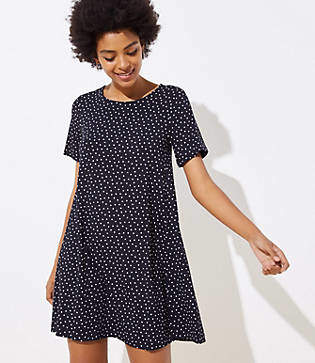 bcecfc84c340a LOFT Petite Dotted Short Sleeve Swing Dress